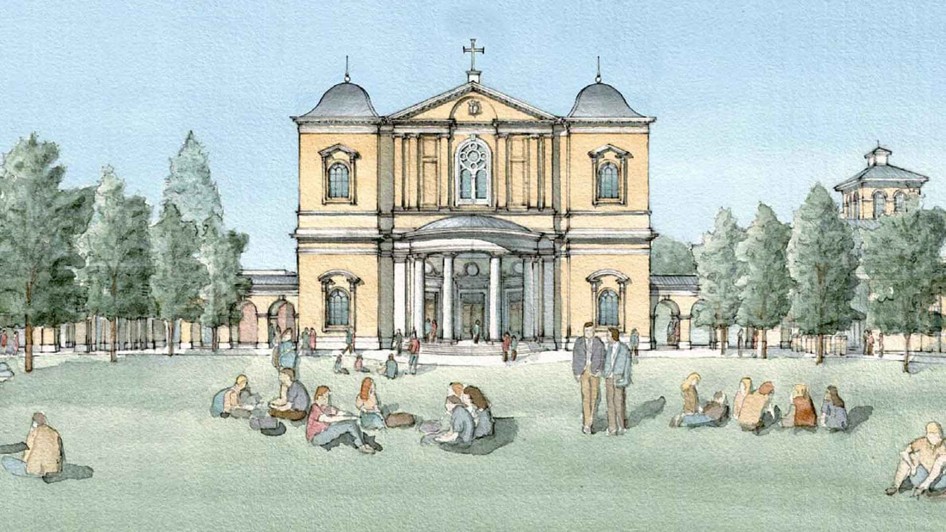 Artwork of Hillsdale College's upcoming Christ Chapel.